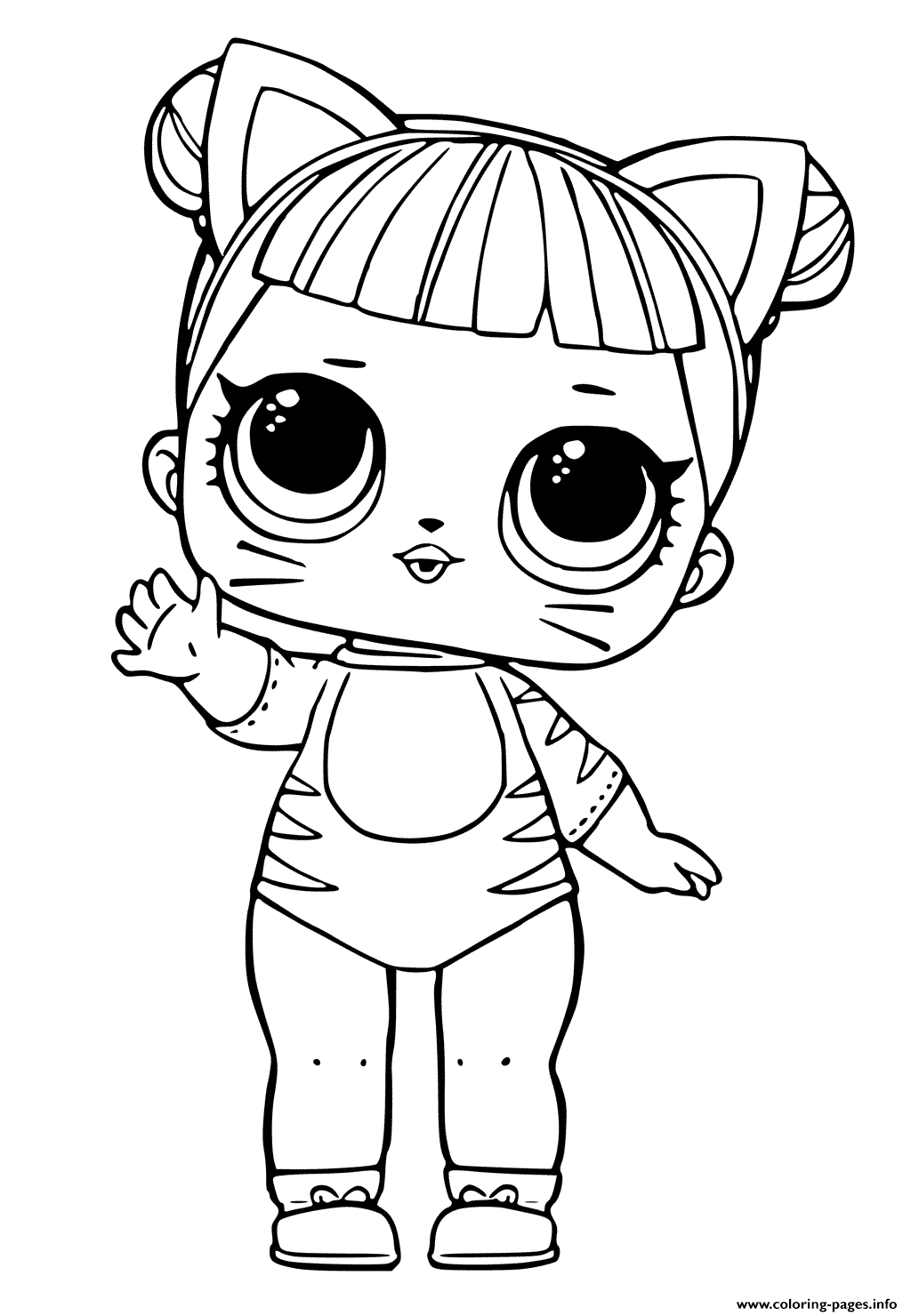Print LOL Doll Tiger Cat Cute coloring pages Cat
