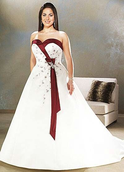 Burgundy Accent Colored Wedding Dresses Sweetheart Wedding Dress