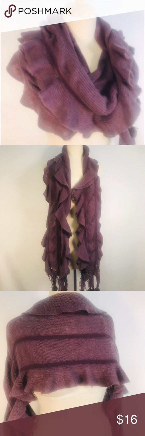 Photo of Gorgeous Dusty Purple Knit Scarf With adorable pom-Pom tassels.  Wear it a multi…