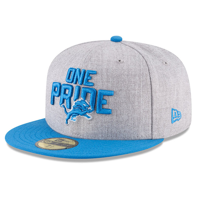 f8b0cf830a9782 Detroit Lions New Era 2018 NFL Draft Official On-Stage 59FIFTY Fitted Hat –  Heather Gray/Blue