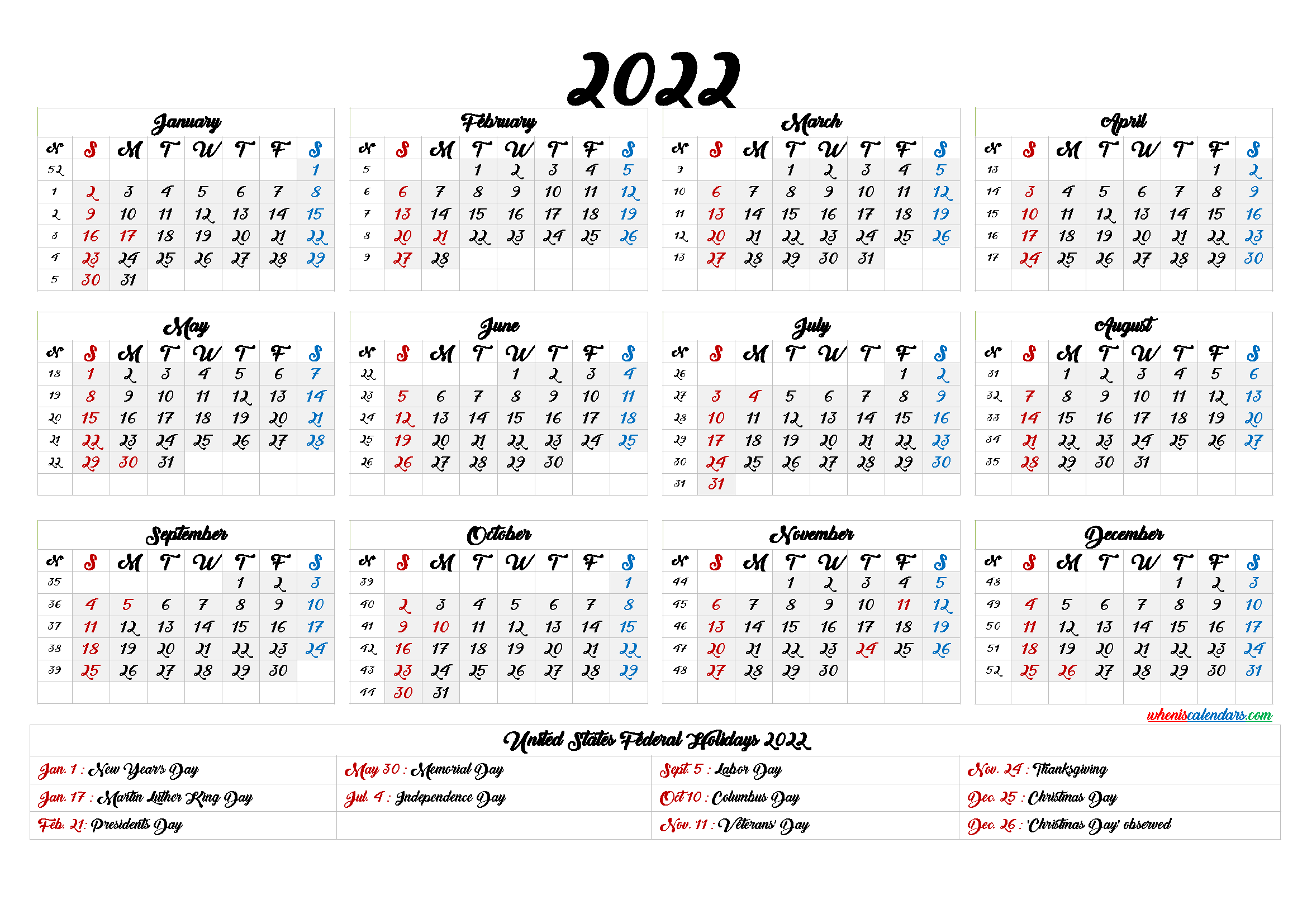 2022 Calendar With Week Numbers Printable 6 Templates In 2020 Printable Numbers Templates Printable Free Holiday Calendar