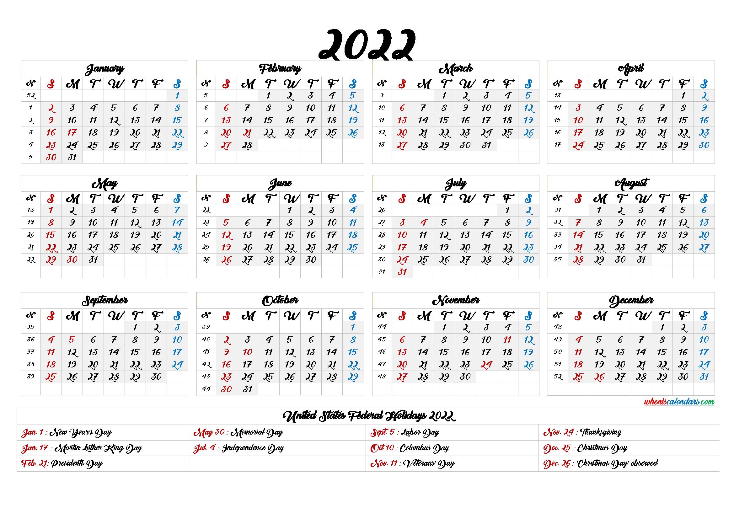 2022 Calendar With Week Numbers Printable 6 Templates Printable Calendar Template Calendar Template Monthly Calendar Printable