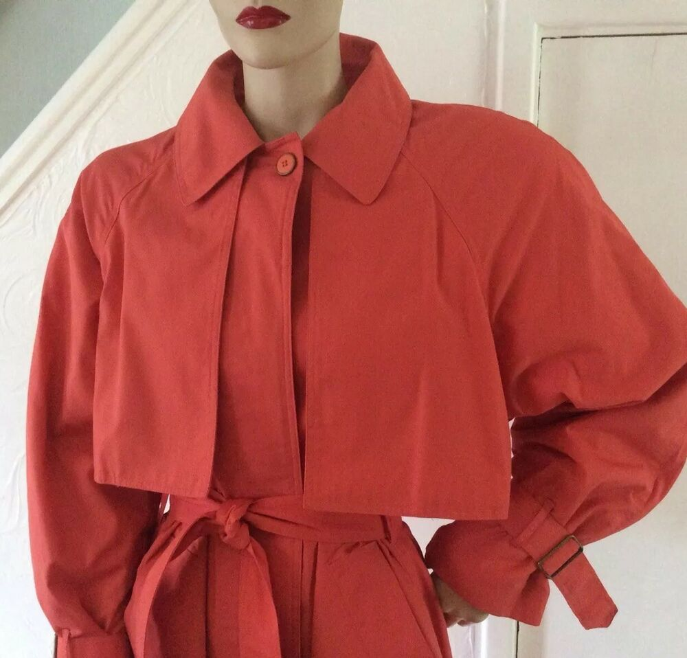 Details About Vintage 1980s Orange Red Salmon Pink Trench Mac