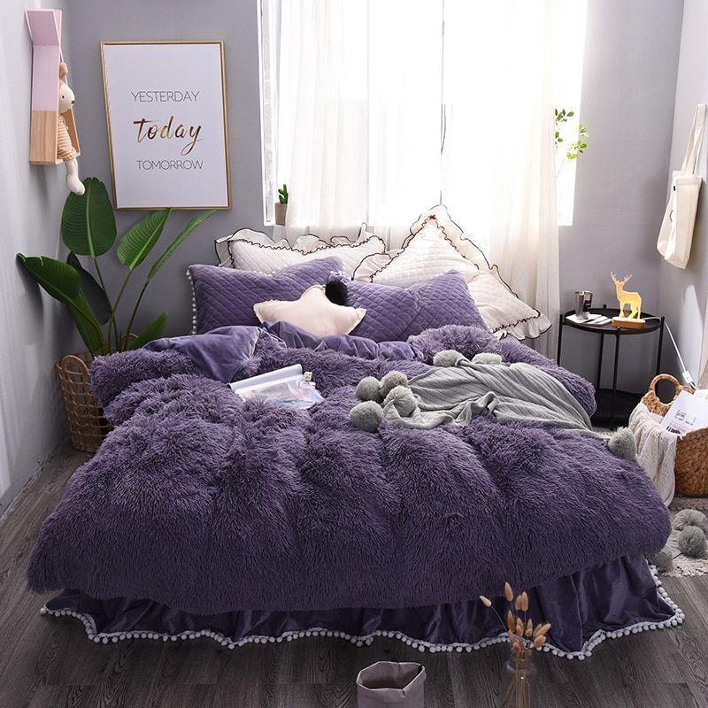 Thick Fleece Warm Bedding set Purple Beige Pink Grey King