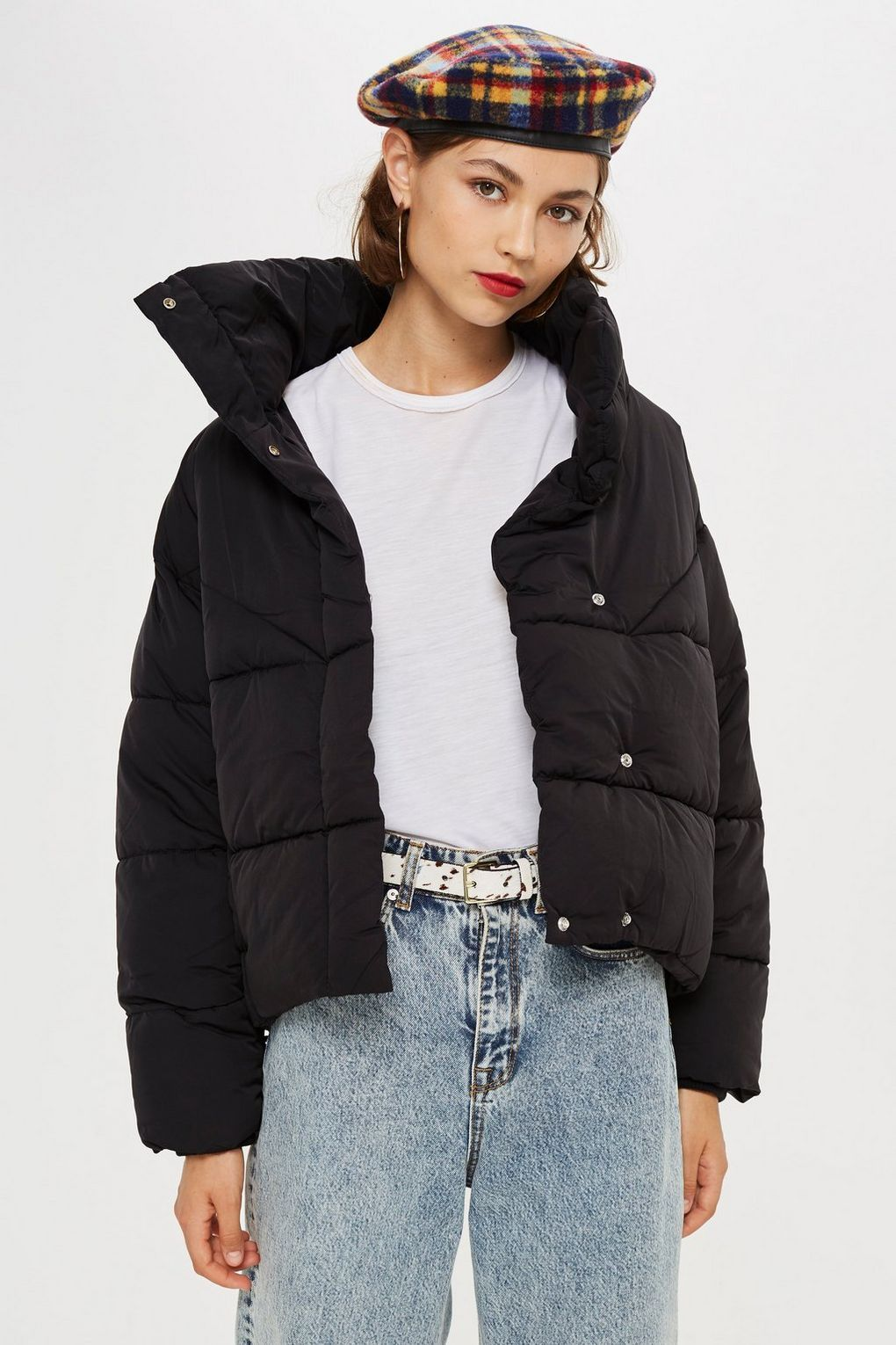Black Wrap Puffer Jacket - Topshop USA ada930a7c4b