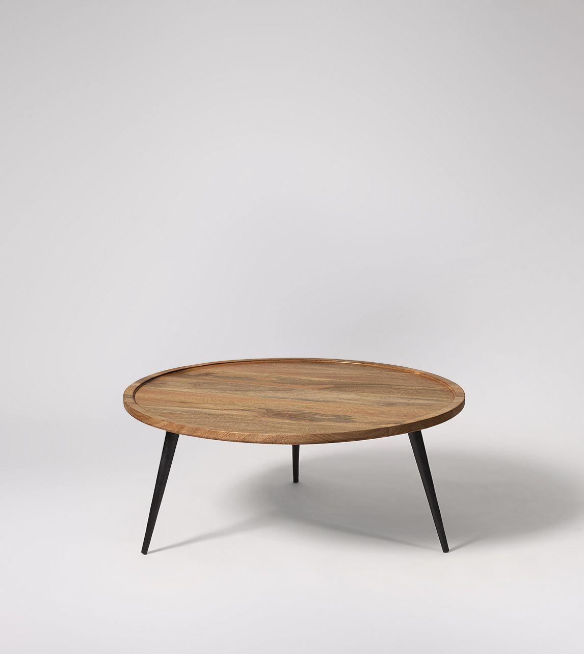 Tabak Coffee Table Industrial Style In Natural Mango Wood Black Steel Coffee Table Round Wood Coffee Table Round Industrial Coffee Table [ 1282 x 1146 Pixel ]