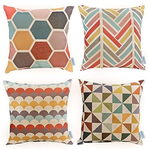 womhope 4 pack 17 x 17 inch colorfull stripe vintage style cotton rh pinterest com sofa pillow stuffing decorating ideas sofa pillows ethan allen
