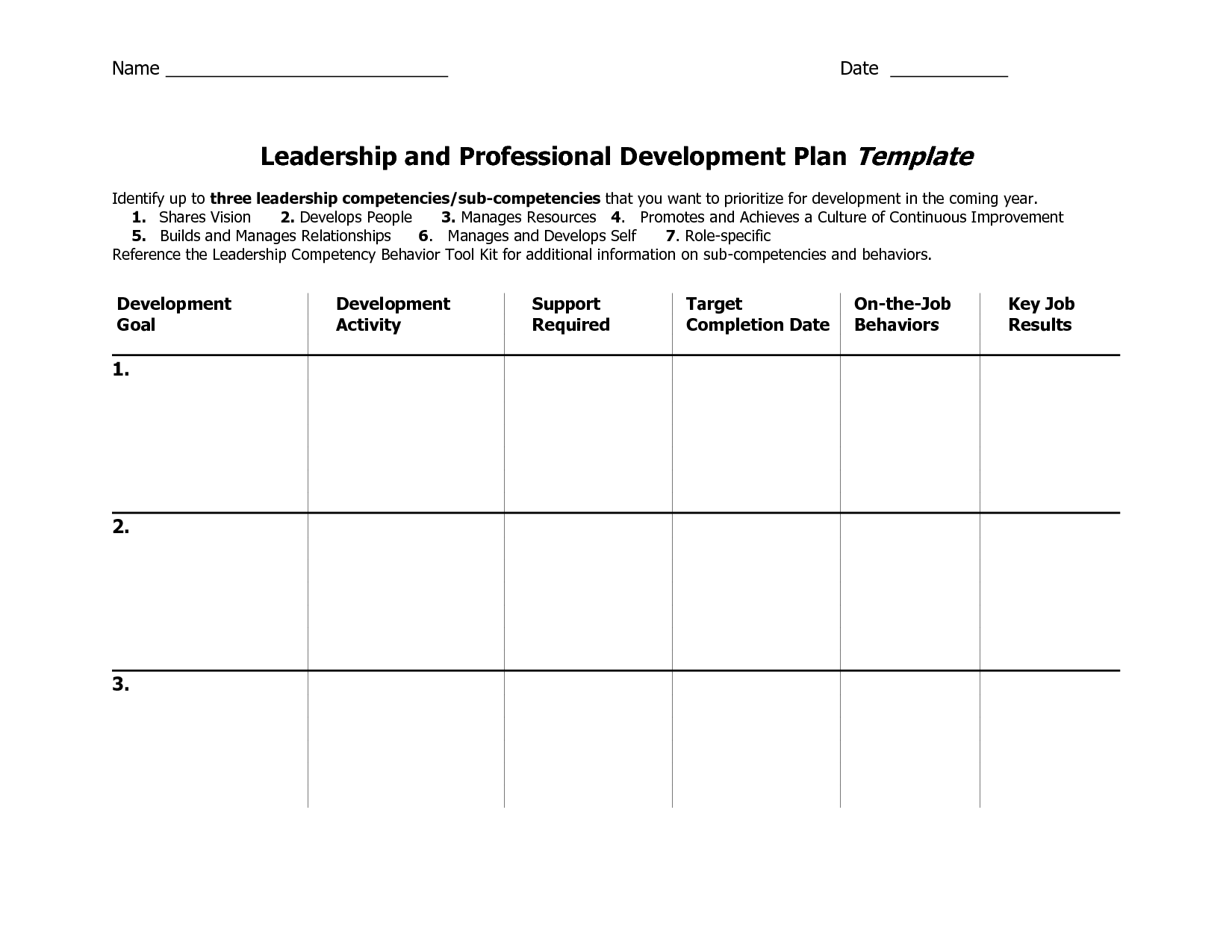 Individual Development Plan Template Word Google Search