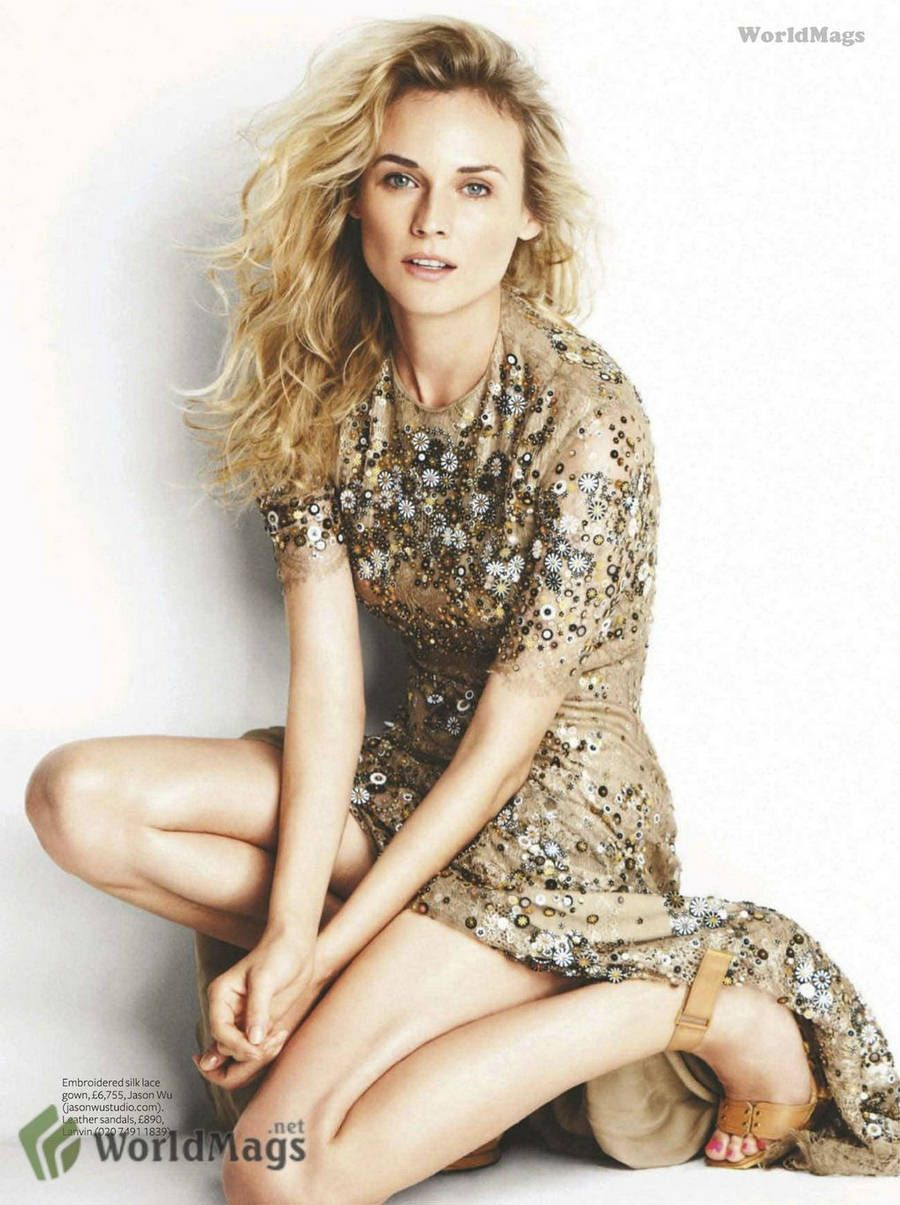 Diane Kruger - InStyle UK  October 2011  sheer and gold embroidered silk lace gown by Jason Wu, leather sandals by Lanvin