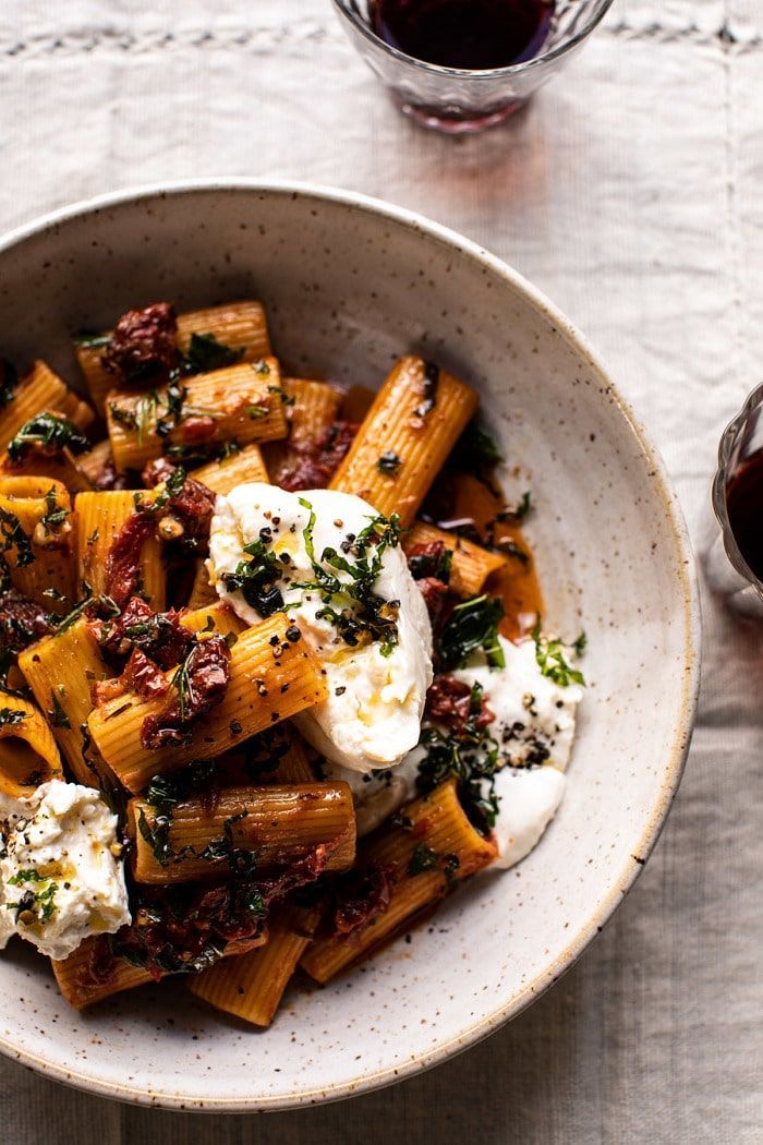 Photo of Quick Pantry Pasta withSun-Dried Tomatoes and Burrata.