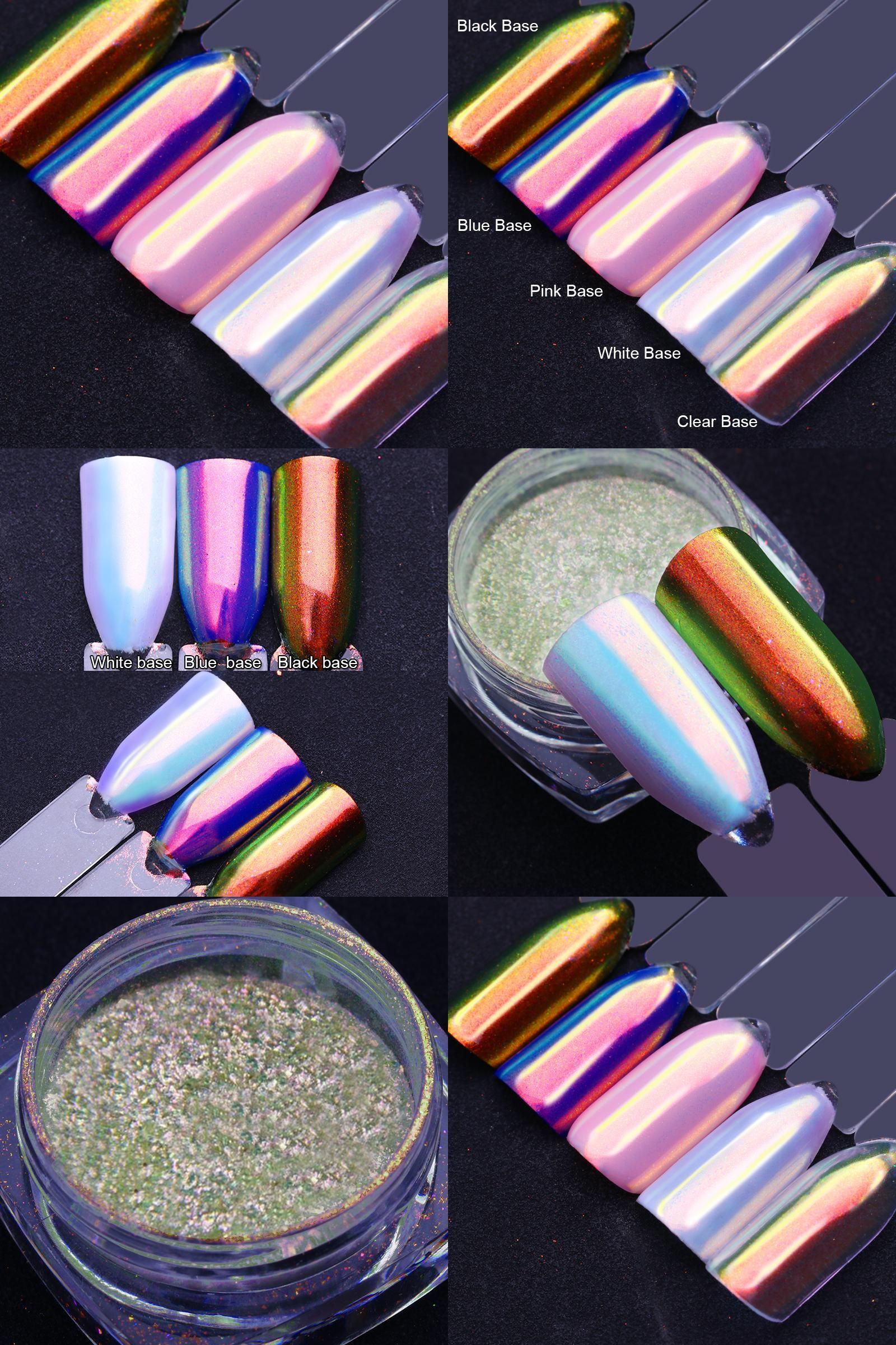 Visit to Buy] Unicorn Chrome Chameleon Nail Glitter 0.8g Metallic ...