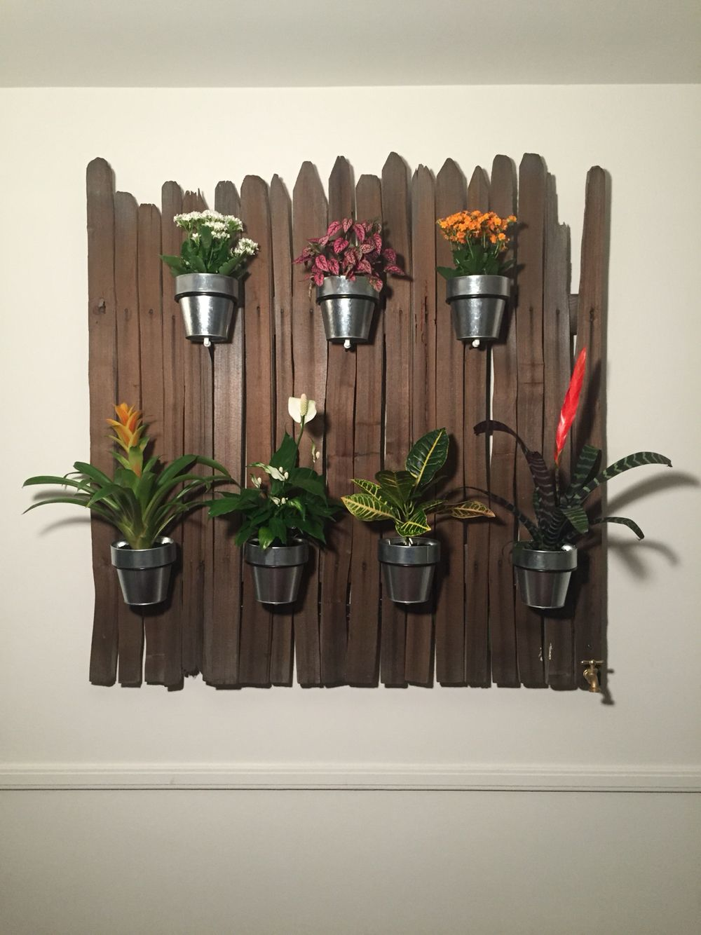 Wall planter made from an old fence. It includes a full drainage system. It's a fantastic wall feature for our dining area.