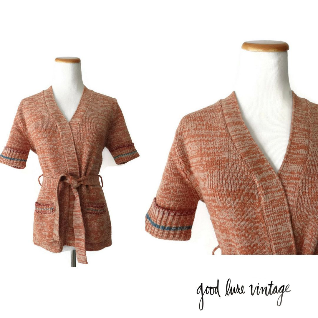 Space Dye Sweater 70s Cardigan Hippie Boho Short Sleeve Top Wrap ...