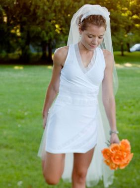 How awesome is this...a custom made running wedding dress.  Cool.