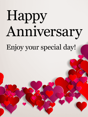 enjoy your special day happy anniversary card pink and red cut out