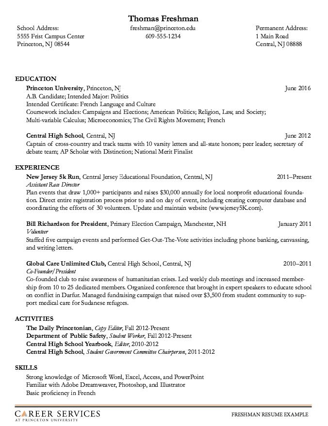 Sample Freshman Resume At Princenton University Free Resume Sample School Address Freshman Resume Template Examples