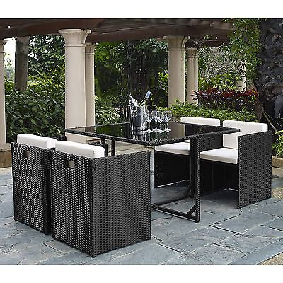 Outdoor 5 Pieces Rattan Wicker Chair Table Patio Garden Furniture Set