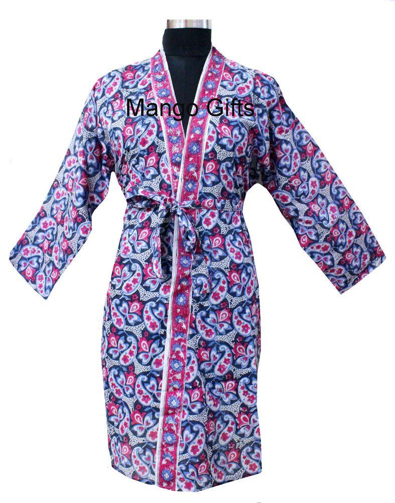 7b9581bf36 Handblock Print Floral 100%Cotton Kimono Bathrobe Night Dress Bikini Cover  up  Handmade  Robes  Bridal