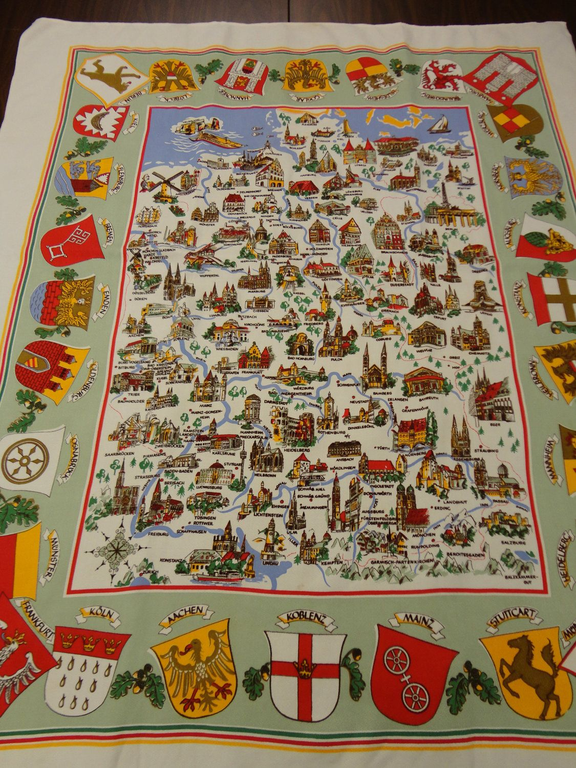 VINTAGE Tablecloth German 1950s or 60s Map colorful pictures of over ...