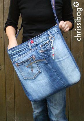 Un viejo #Jean pants se convierte en una gran bolsa de mano práctica # Upcycling #diy