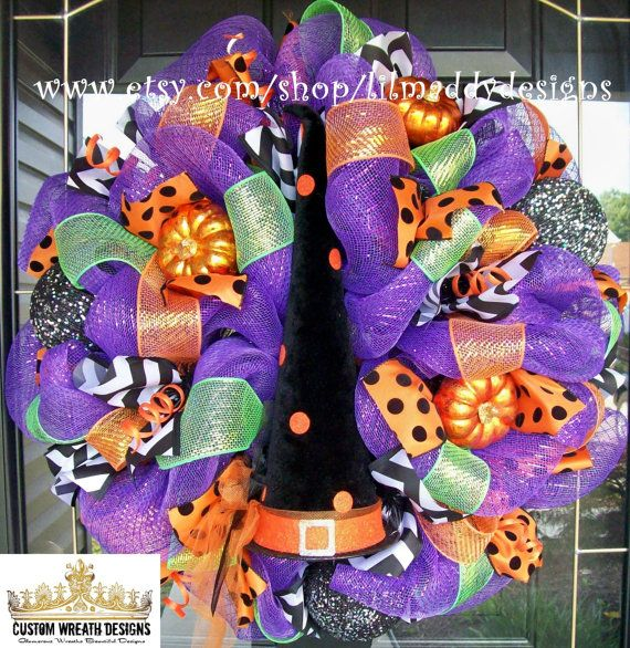 Whimsical Halloween Witch Hat Wreath by lilmaddydesigns on Etsy