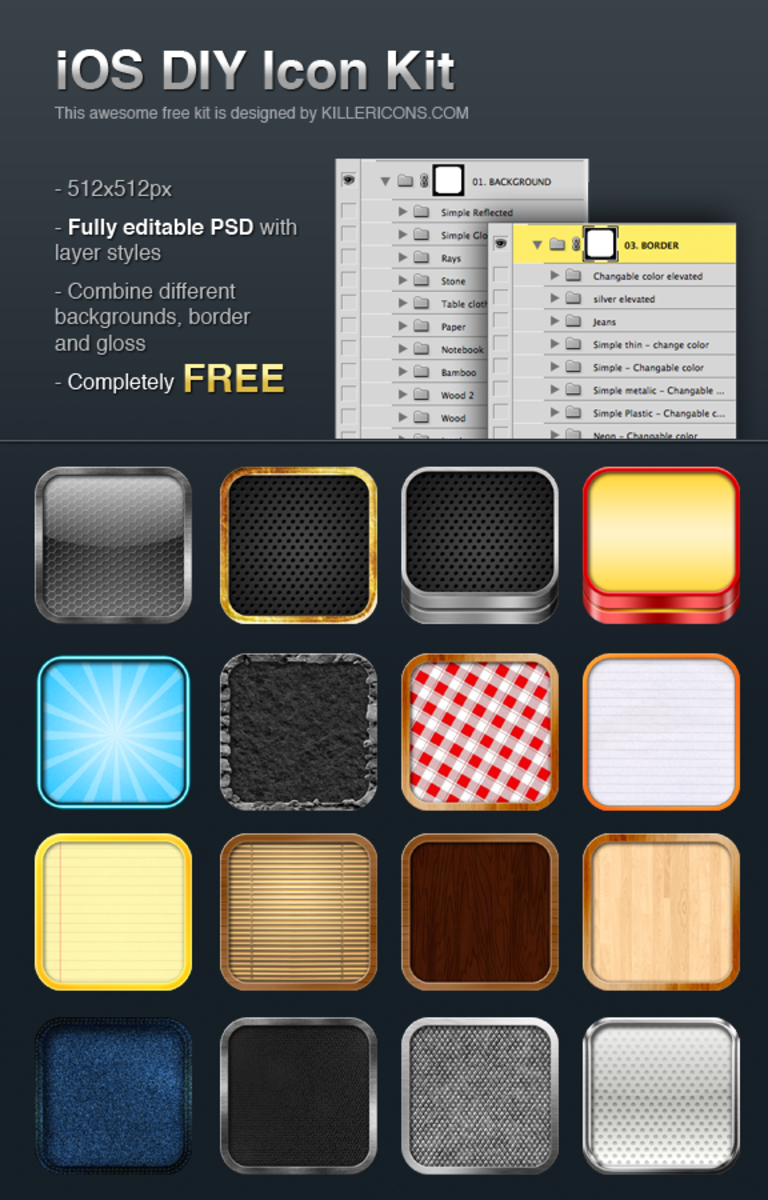 iOS App Icon Kit Templates PSD Ios app icon, App icon