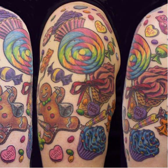 Photo of Gingerbread and candy tattoo