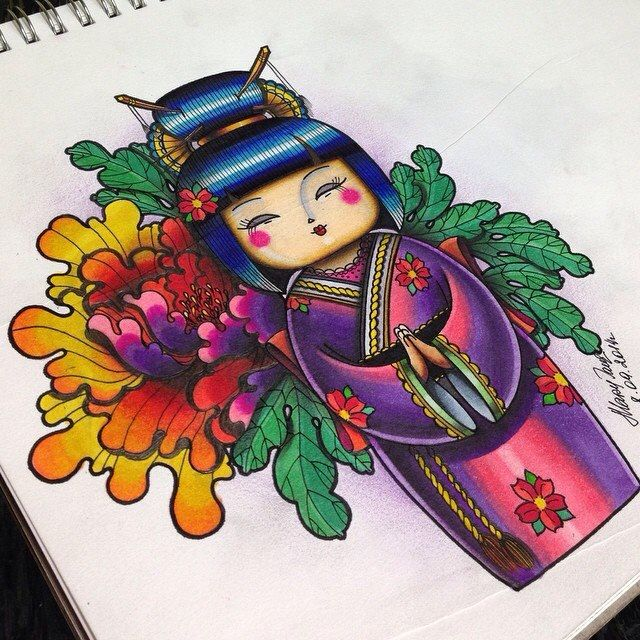 Geisha, geisha dolls, tattoo, scatch , Japan, Japanese , Mary Jane