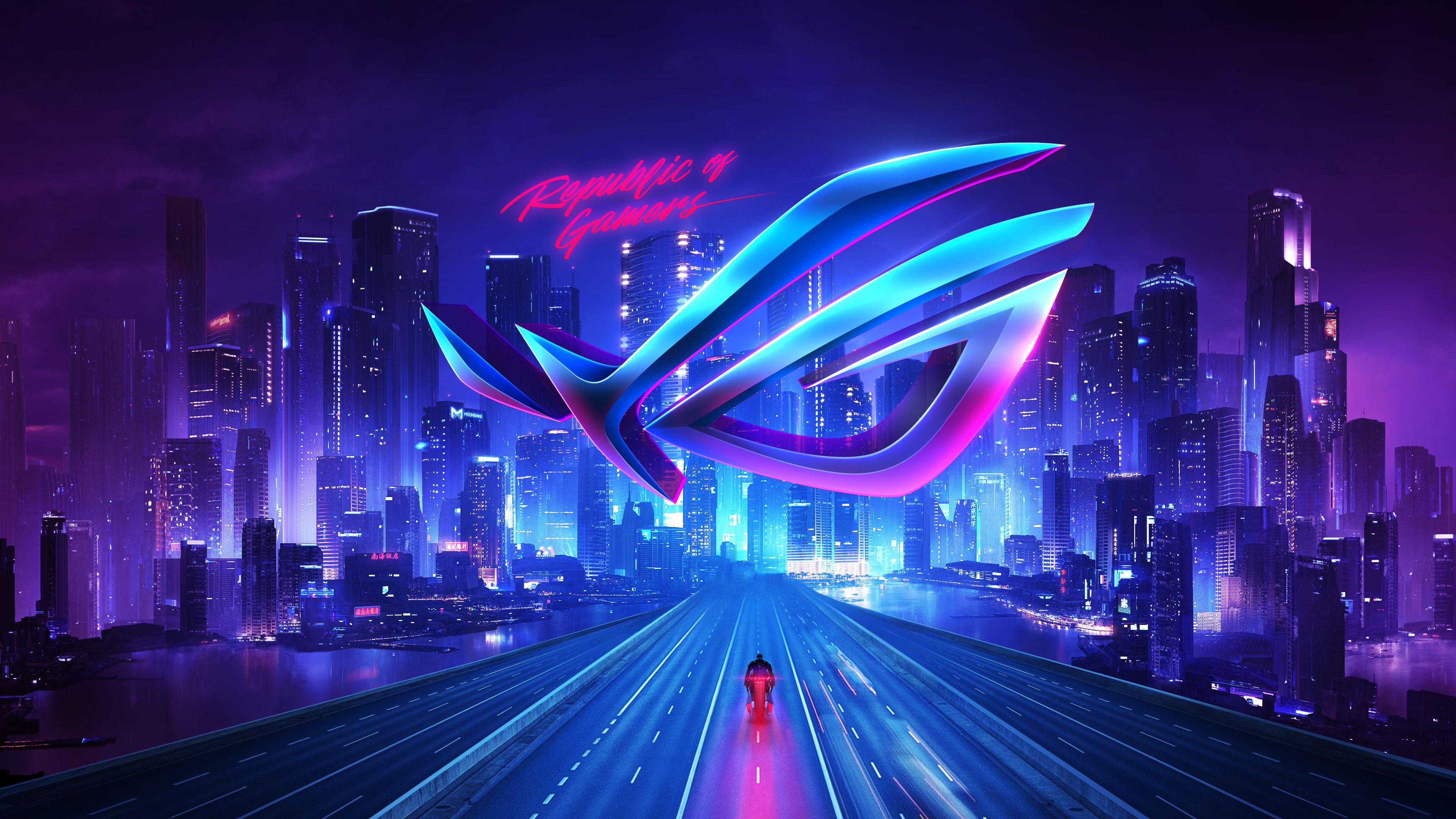 Asus Rog Republic Of Gamers Neon City 4k Technology Di 2020 Wallpaper Ponsel Gambar Kertas Dinding