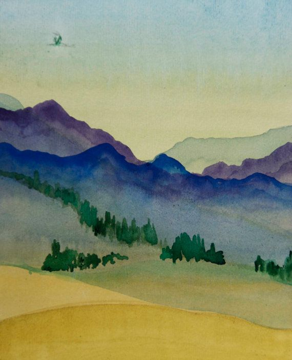 Landscape Watercolor Painting Art Decor The Originals Hills
