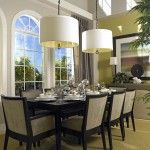 Double White Modern Pendant Lamp With Drum Shade And Also Black Metal Chain For Dining Room Design a part of  under Lighting