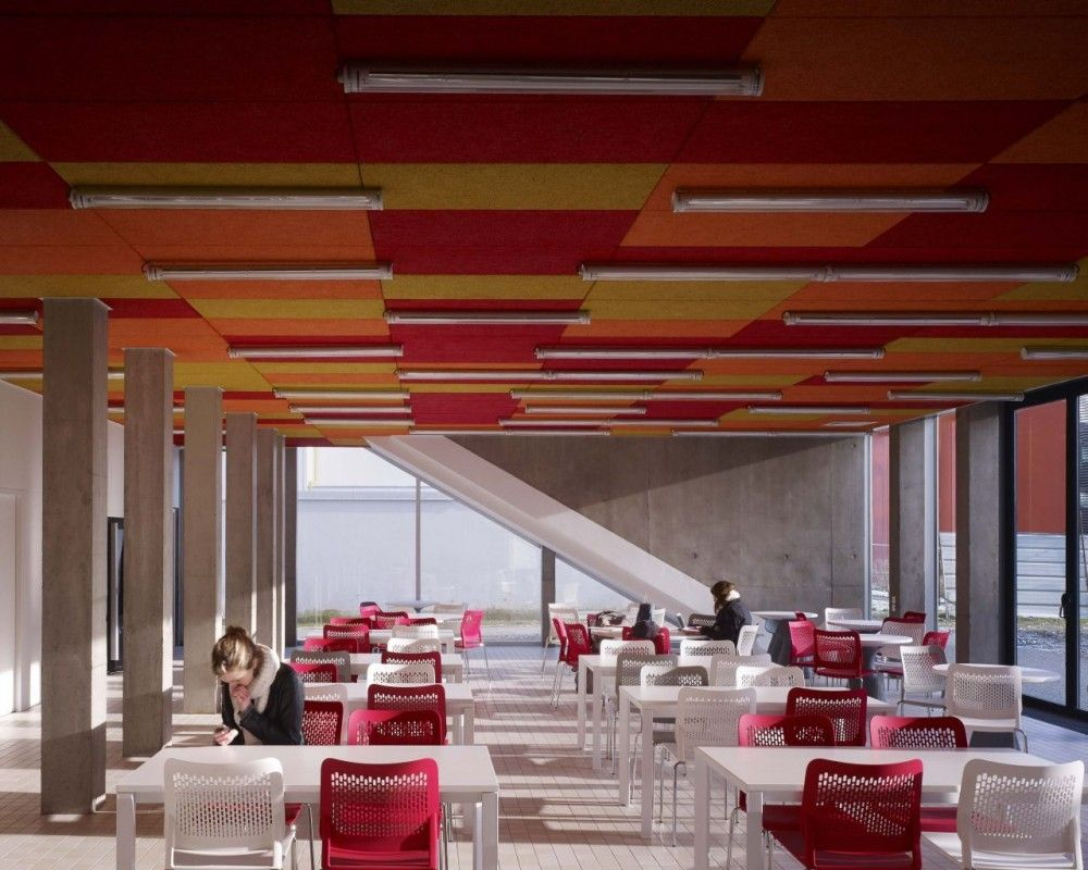 Gallery of ifsante wonk architectes 9 ceiling tiles ceilings ifsante wonk architectes shared learning colored acoustical ceiling tiles exposed linear direct dailygadgetfo Choice Image
