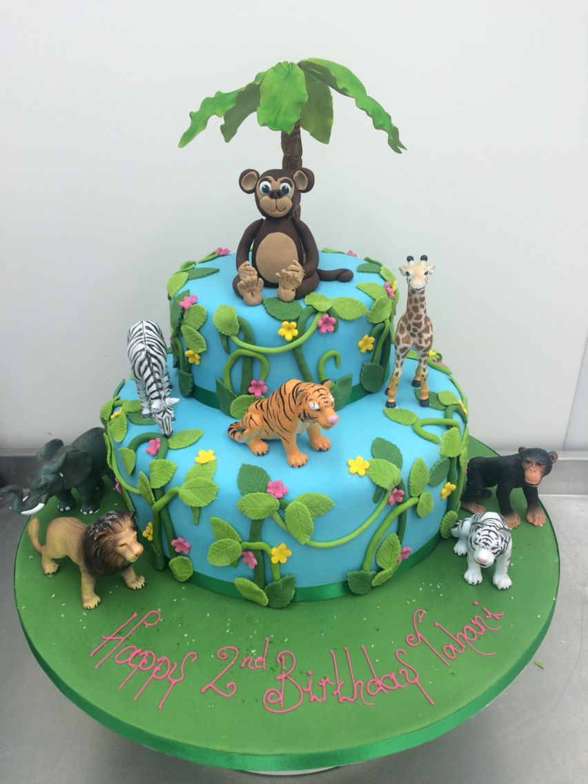 Jungle Themed Birthday Cake With Sugar Palm Tree And Modelled