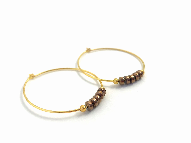 Gift for Her Women Earrings Gift Blue Earrings Gemstone Earrings Gold Hoop Earrings Small Boho Earrings Beaded Gold Hoops