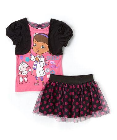Look at this #zulilyfind! Black & Pink 'Good News' Shrug & Skirt Set - Girls #zulilyfinds