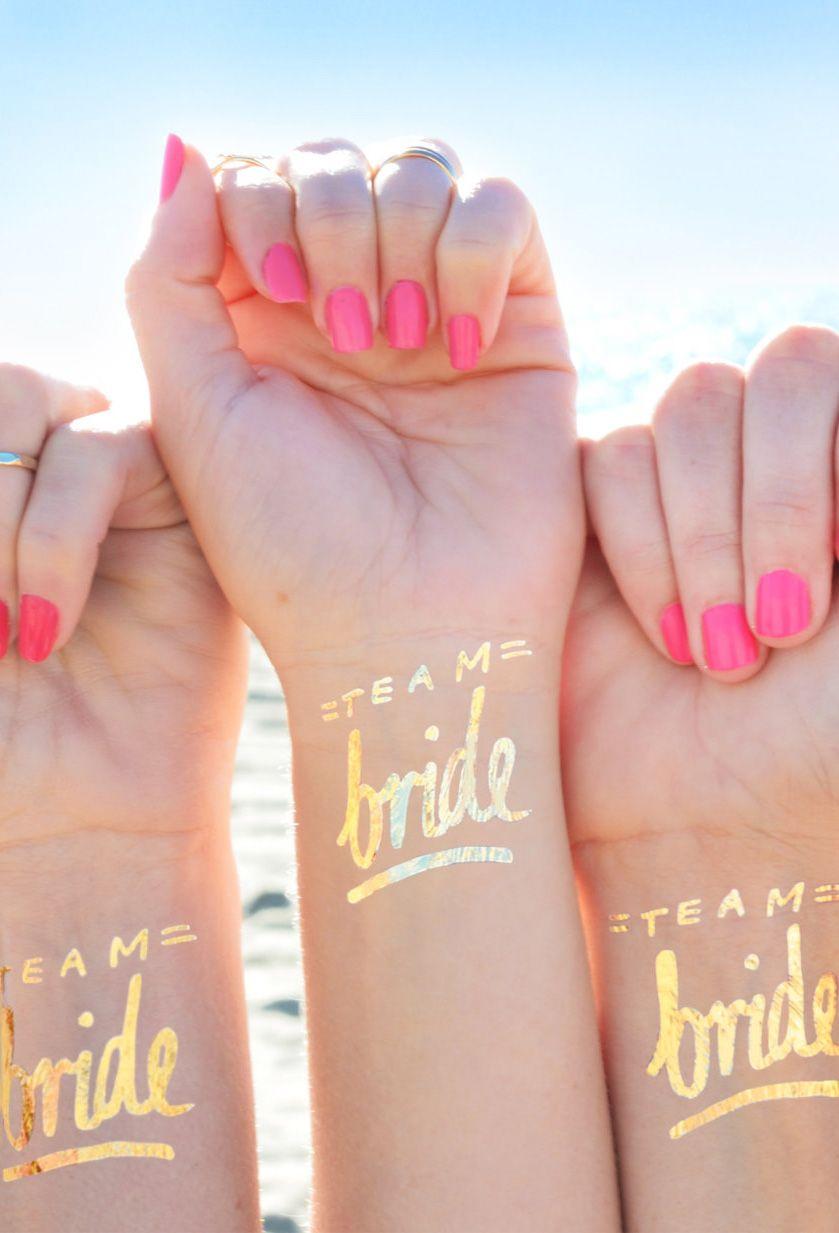 Bachelorette party tattoo, Team Bride tattoo © Set of 12 ...