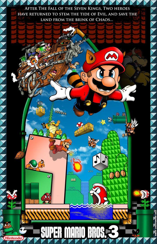 Mario Bros 3 Poster With Border By Whittingtonrhett Deviantart Com On Deviantart Super Mario Games Super Mario Art Mario Bros
