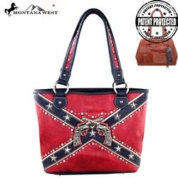 e5da24eb76c9 This Montana West Tote Style Purse with Confederate Flag and Crossed ...