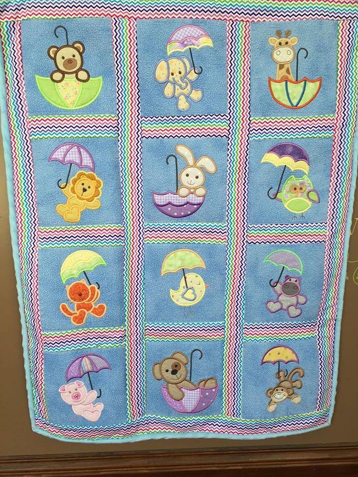 Cute Umbrella Critters Applique design set available for instant download at designsbyjuju.com #cuteumbrellas