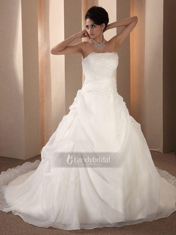 ウェディングドレス Aライ ビスチェ ビーズ アイボリー オーガンジー H800hs3049