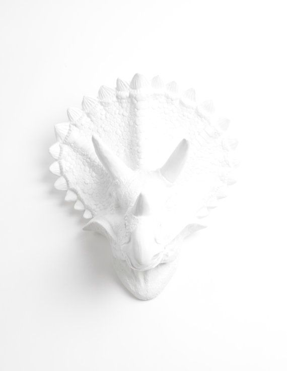 Triceratops Head White Dinosaur Wall Mount By Whitefauxtaxidermy