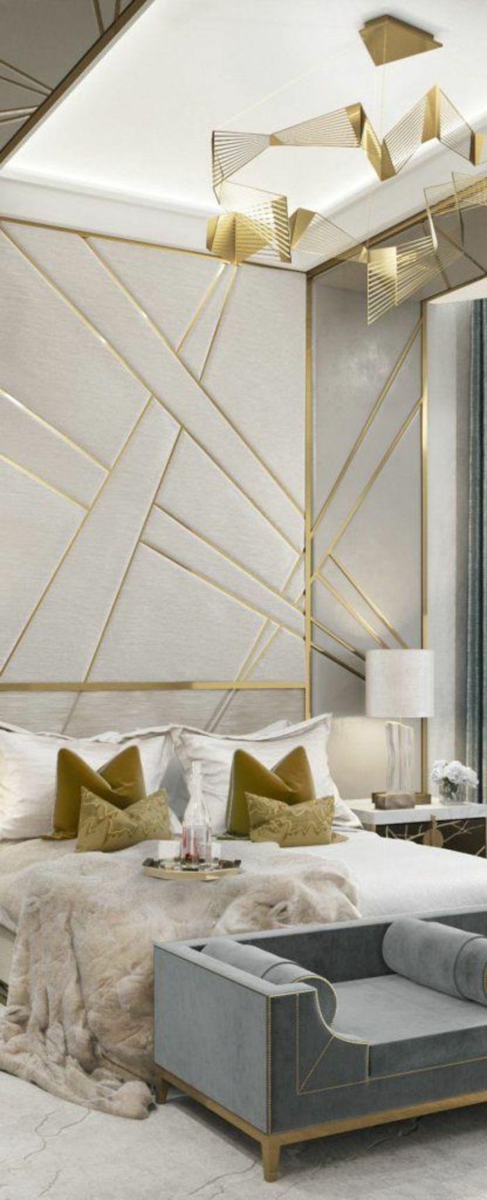 P riode art d co chambre coucher en gris et dor motifs graphiques aux murs house home - Deco chambre dore ...