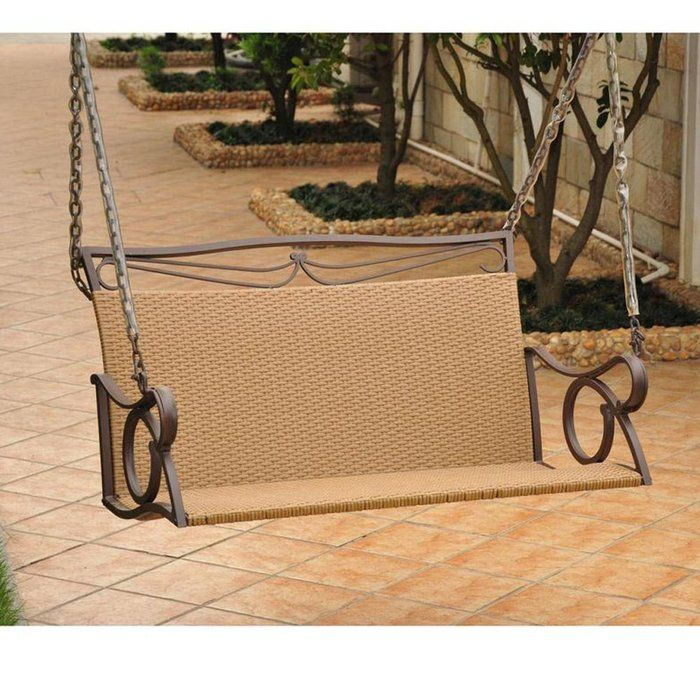 Valencia Steel Frame Wicker Porch Swing