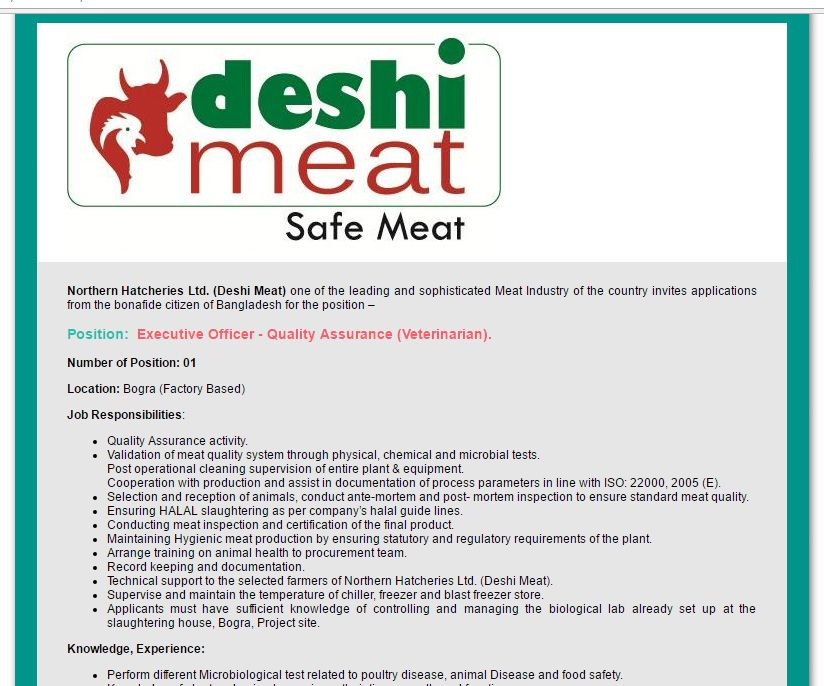 Northern Hatcheries Ltd Deshi Meat  Post Executive Officer