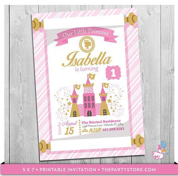Princess Invitation, Princess Birthday Invitation Printable - invitation for 1st birthday party girl