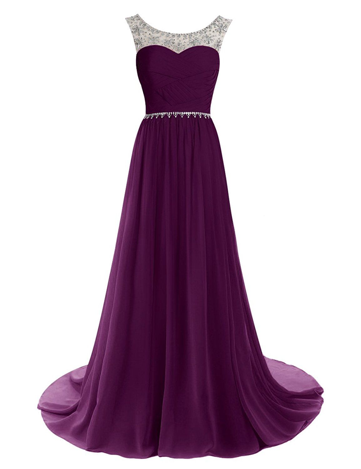 Dressystar chiffon dress long bridesmaid dress beading ball gown