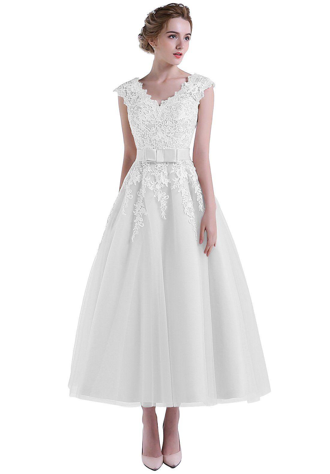 Helenebridal Beach Tea Length Lace Vneck Cap Sleeve Wedding Dress