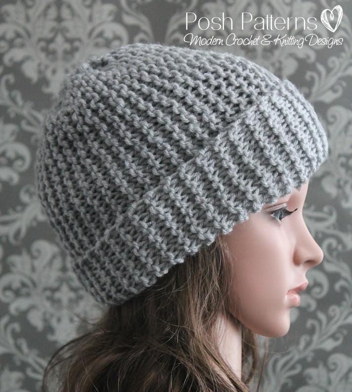 Knitting PATTERN - Easy Beginner Knit Slouchy Hat Pattern   Knitting ...