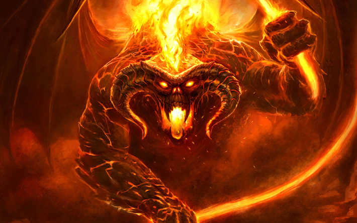 Download Wallpapers The Lord Of The Rings Fiery Monster