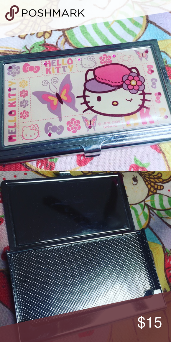 5191214be Hello kitty credit card holder Id wallet Sanrio Great shape perfect for  business cards or holds your ID and a few credit cards too Sanrio Bags  Wallets